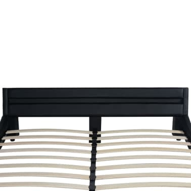 vidaXL Lovos rėmas su LED, 160 x 200 cm, dirbtinė oda, juodas[6/8]