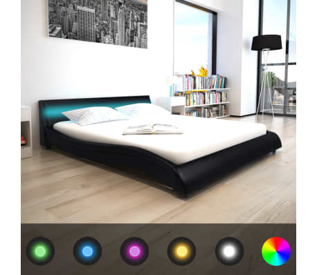 vidaXL Lovos rėmas su LED, 160 x 200 cm, dirbtinė oda, juodas[1/8]