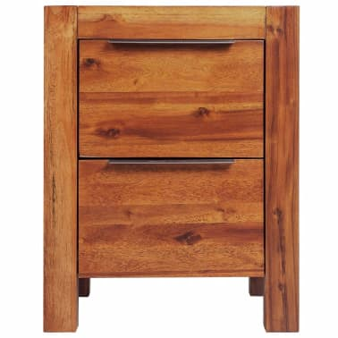 """vidaXL Bedside Cabinet Solid Acacia Wood Brown 17.7""""x16.8""""x22.8""""[2/6]"""