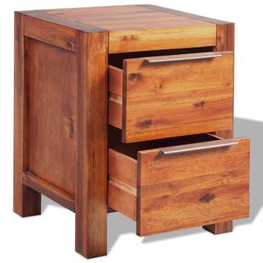 """vidaXL Bedside Cabinet Solid Acacia Wood Brown 17.7""""x16.8""""x22.8""""[4/6]"""