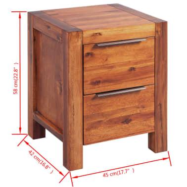 """vidaXL Bedside Cabinet Solid Acacia Wood Brown 17.7""""x16.8""""x22.8""""[6/6]"""