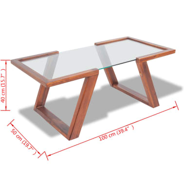 vidaXL Kavos staliukas, masyvi akacijos mediena, 100x50x40 cm[6/6]