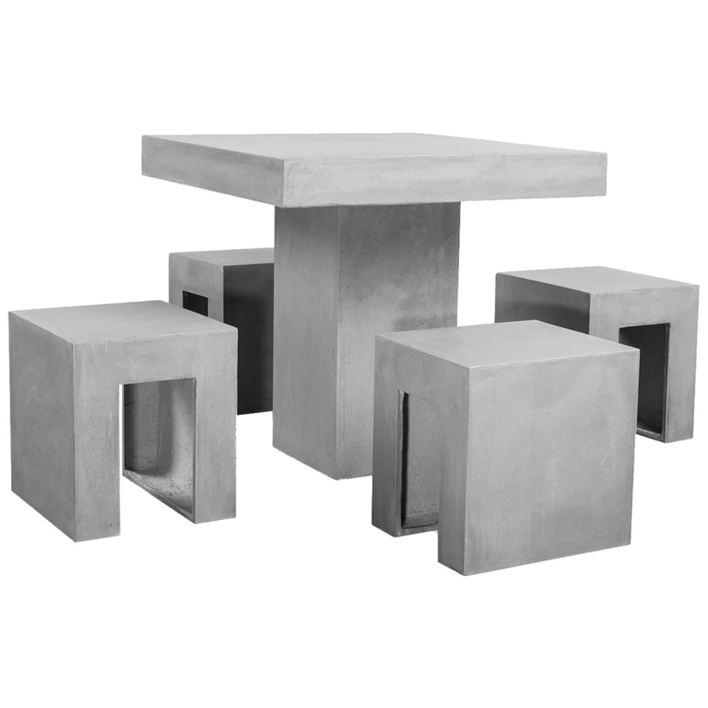 vidaXL 5-cz. ogrodowy zestaw jadalniany, beton