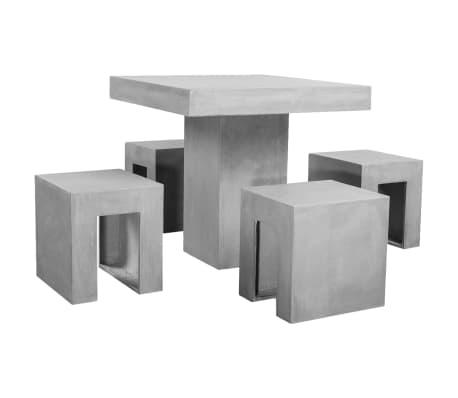 vidaXL Matbord för trädgården 5 delar betong