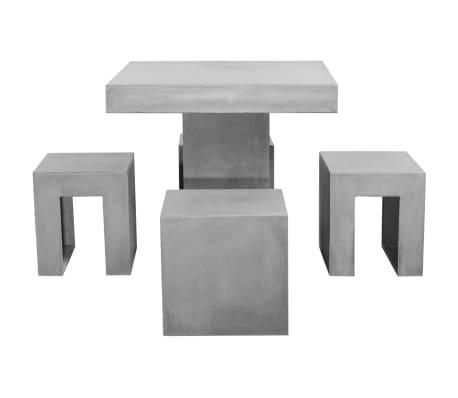 vidaXL Mobilier de salle à dîner d'extérieur 5 pcs Béton[2/11]
