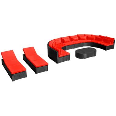 vidaXL 13-delige Loungeset met kussens poly rattan rood[2/12]