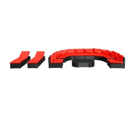 vidaXL 13-delige Loungeset met kussens poly rattan rood[3/12]
