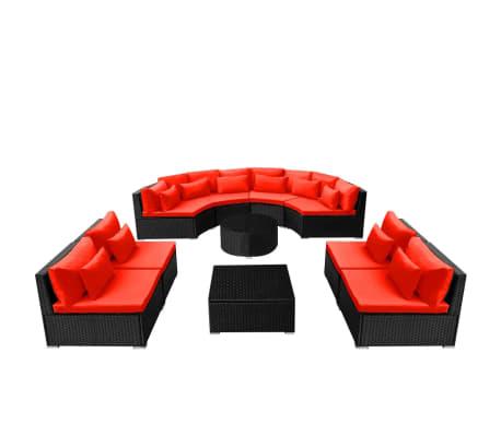 vidaXL 13-delige Loungeset met kussens poly rattan rood[4/12]