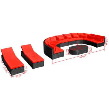 vidaXL 13-delige Loungeset met kussens poly rattan rood[12/12]