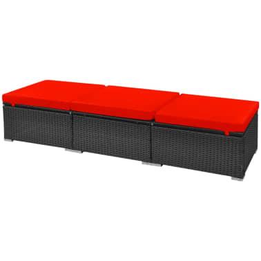 vidaXL 13-delige Loungeset met kussens poly rattan rood[10/12]