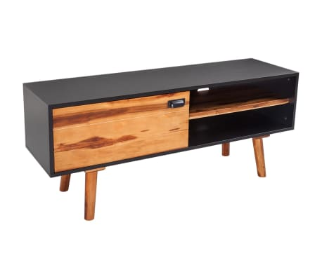 acheter vidaxl meuble tv bois d 39 acacia massif 120 x 35 x 50 cm pas cher. Black Bedroom Furniture Sets. Home Design Ideas