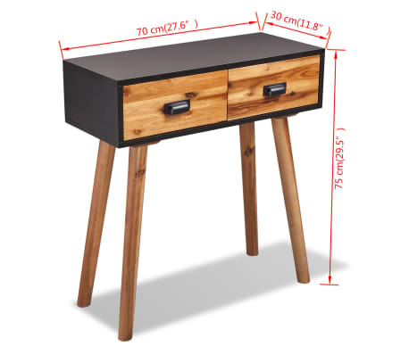 "vidaXL Solid Acacia Wood Console Table 27.6""x11.8""x29.5""[5/5]"