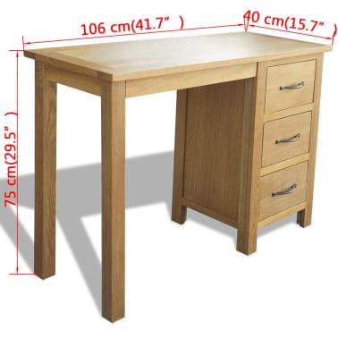 "vidaXL Desk with 3 Drawers Solid Oak Wood 41.7""x15.7""x29.5""[6/6]"