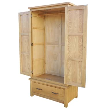 vidaXL Drabužių spinta su 1 stalčiumi, 90x52x183cm, ąžuolo med. masyv.[3/6]