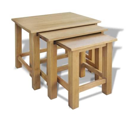 vidaXL Tables gigognes 3 pcs Bois de chêne massif