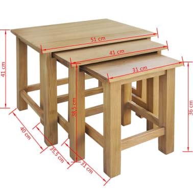 vidaXL Sudedami staliukai, 3 vnt., ąžuolo medienos masyvas[5/5]
