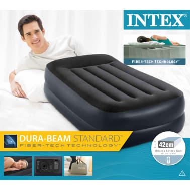 handla intex luftmadrass med kuddst d pvc 99x191x42 cm svart 64122. Black Bedroom Furniture Sets. Home Design Ideas