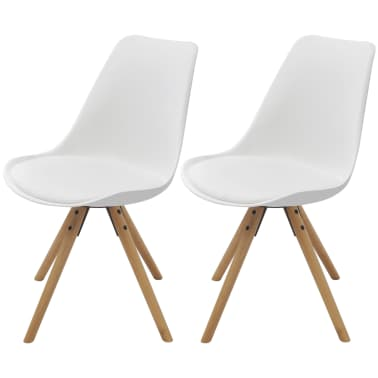 vidaXL Dining Chairs 2 pcs Artificial Leather White[1/6]