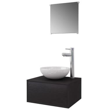 vidaXL Quatre pièces pour salle de bains avec lavabo et robinet noir[2/12]