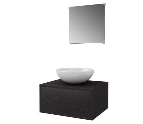 vidaXL Quatre pièces pour salle de bains avec lavabo et robinet noir[3/12]