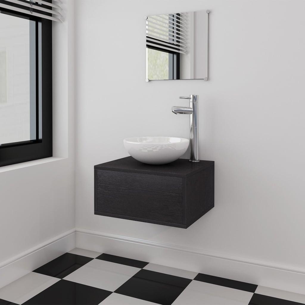 4-tlg. Badmöbel-Set mit Waschbecken und Wasserhahn Schwarz
