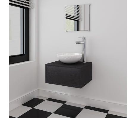 vidaXL Quatre pièces pour salle de bains avec lavabo et robinet noir[1/12]