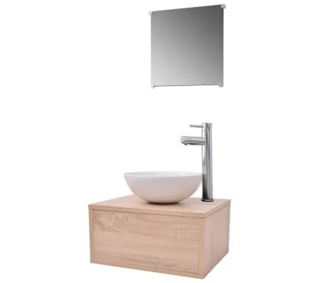 vidaXL Комплект мебели за баня, с мивка и кран, бежово, 4 части