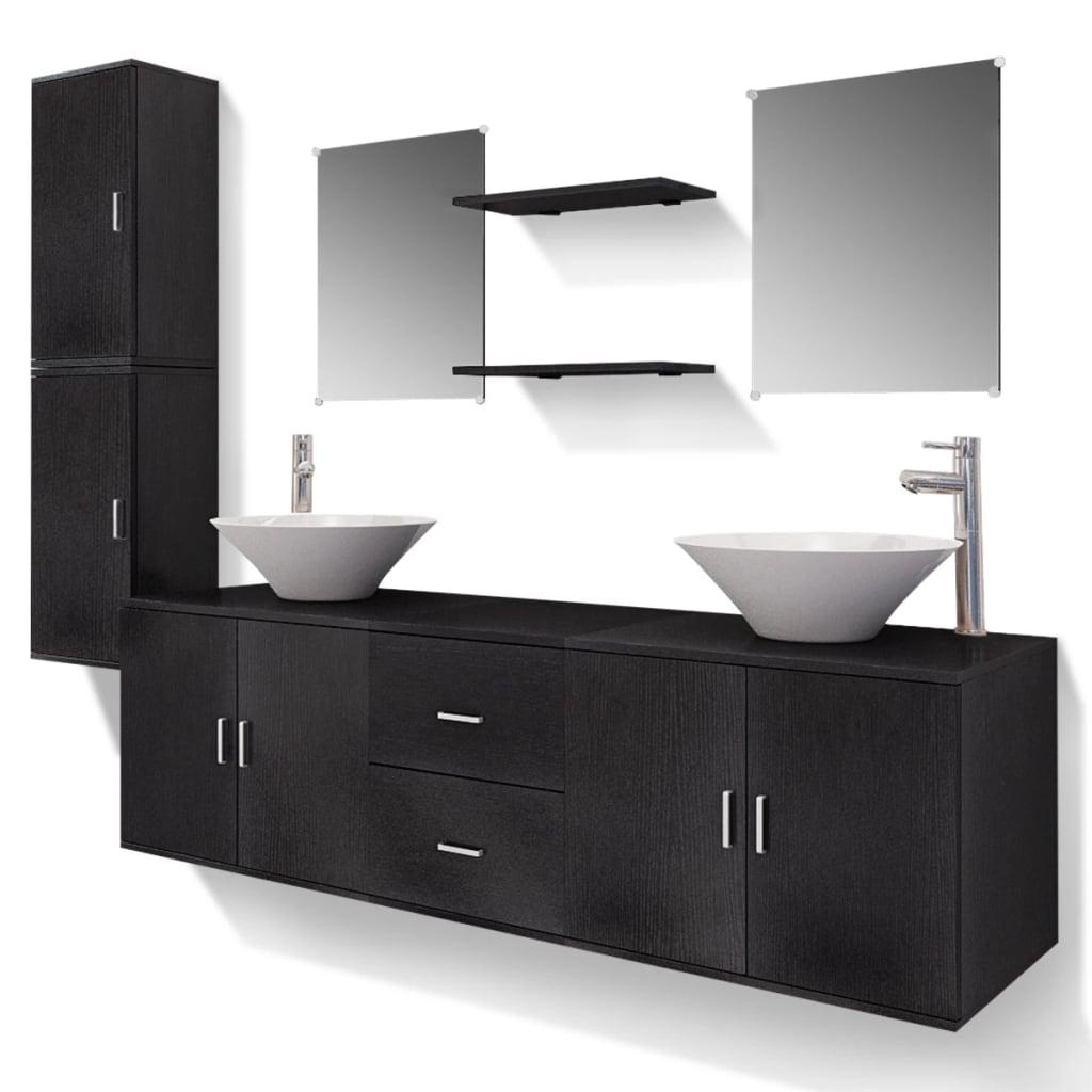 11-Delni Komplet Kopalniškega Pohištva Umivalnik in Pipa Črn