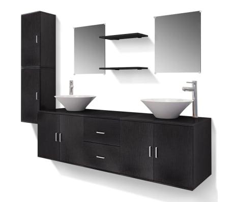 acheter vidaxl meuble de salle de bain 11 pcs avec lavabo et robinet noir pas cher. Black Bedroom Furniture Sets. Home Design Ideas