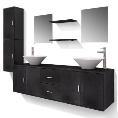 vidaXL Meuble de salle de bain 11 pcs avec lavabo et robinet Noir[2/13]