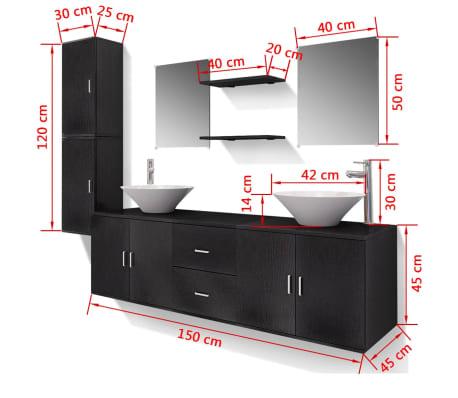 vidaXL Meuble de salle de bain 11 pcs avec lavabo et robinet Noir[12/13]