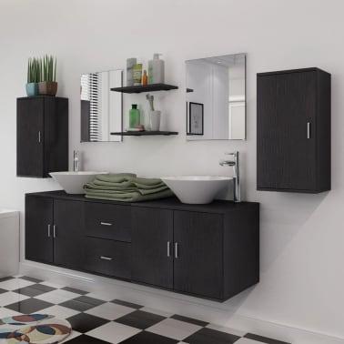 vidaXL Meuble de salle de bain 11 pcs avec lavabo et robinet Noir[3/13]