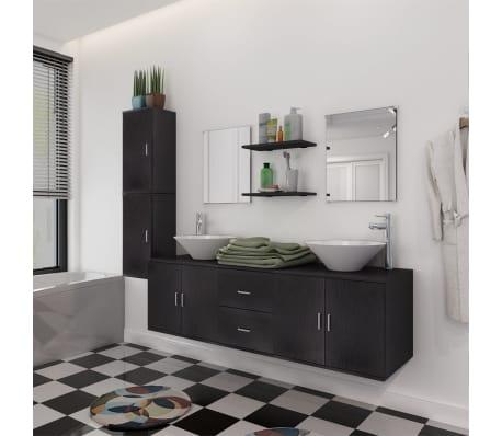vidaXL Set 11 Mobili per bagno con lavandino con rubinetto nero ...