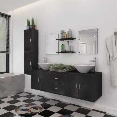 vidaXL Meuble de salle de bain 11 pcs avec lavabo et robinet Noir[1/13]