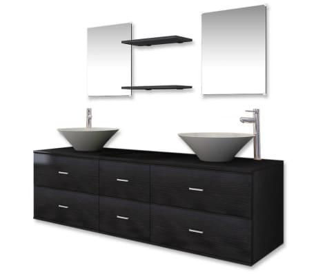 vidaXL Set mobilier baie 9 piese cu chiuvete și robinete incluse, Negru
