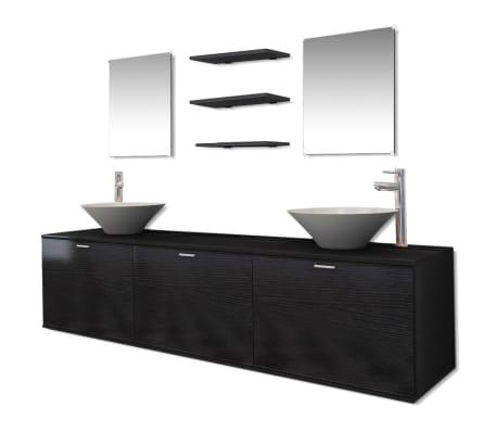 vidaXL Комплект мебели за баня, с мивки и кранове, черен, 10 части