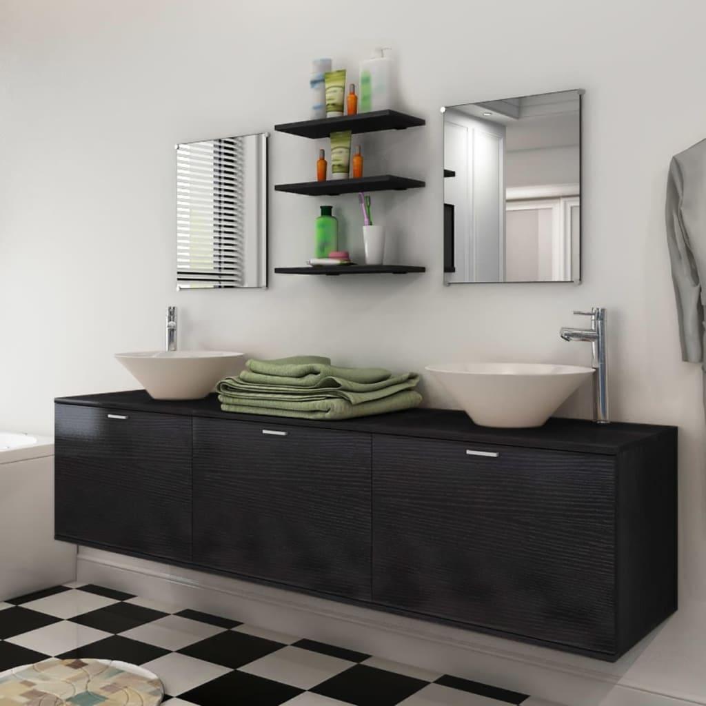 vidaXL Badrumsmöbler med handfat och kran svart 10 delar