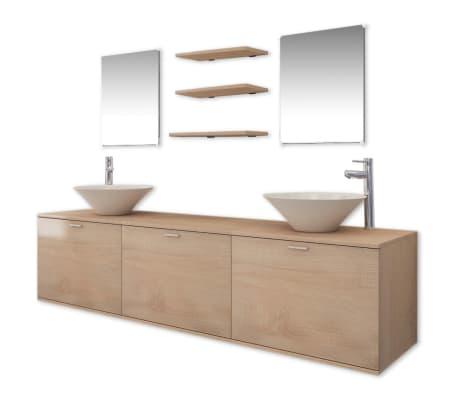 vidaXL Set mobilier baie 10 piese cu chiuvete și robinete incluse, Bej