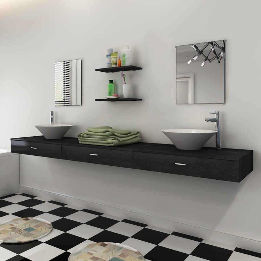 vidaXL Set mobilier baie cu chiuvetă și robinete incluse 9 piese negru poza vidaxl.ro