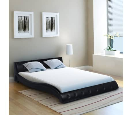 vidaXL Bed Frame Artificial Leather 5FT King Size/150x200 cm Black ...