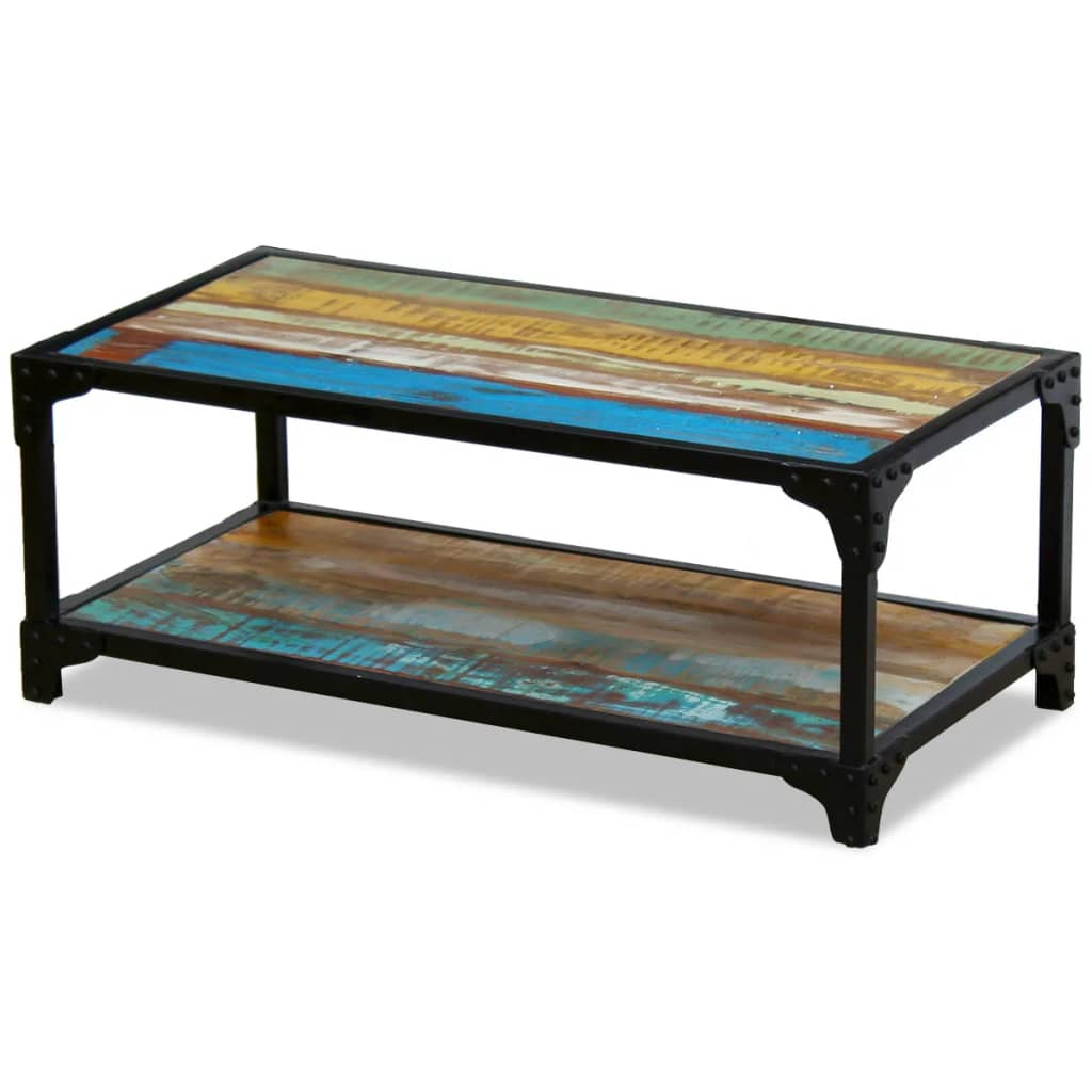 Coffee Table And Entertainment Unit Set: Solid Reclaimed Wood TV Stand Entertainment Unit Cabinet