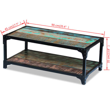 vidaXL Coffee Table Solid Reclaimed Wood[8/8]