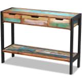 vidaXL Bočný stolík s 3 zásuvkami, masívne recyklované drevo