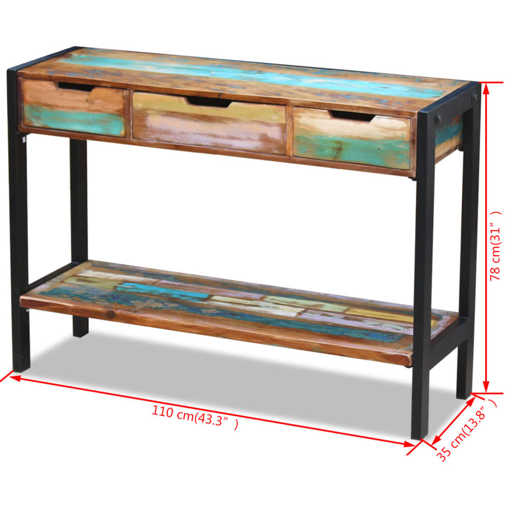 Solid Reclaimed Wood TV Stand Entertainment Unit Cabinet