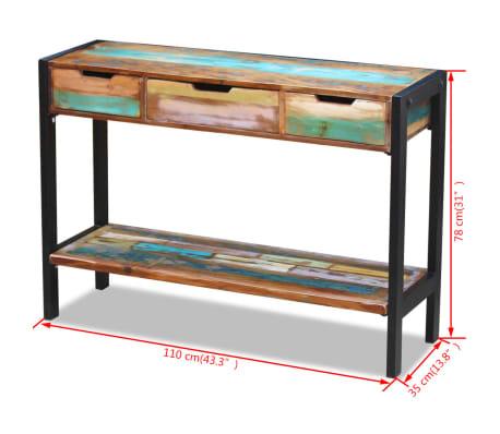 vidaXL Sideboard 3 Drawers Solid Reclaimed Wood[8/8]