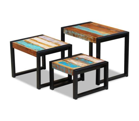 vidaXL Tři stohovatelné stolky z masivního recyklovaného dřeva