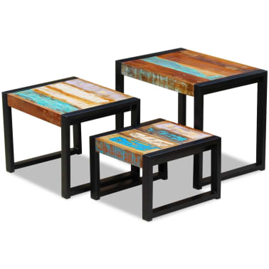 vidaXL Three Piece Nesting Tables Solid Reclaimed Wood[1/9]