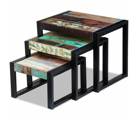 vidaXL Three Piece Nesting Tables Solid Reclaimed Wood[5/9]