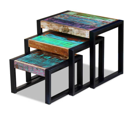 vidaXL Three Piece Nesting Tables Solid Reclaimed Wood[6/9]