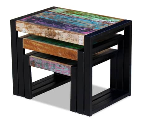 Vidaxl Solid Reclaimed Wood Nesting Coffee Table Set 3